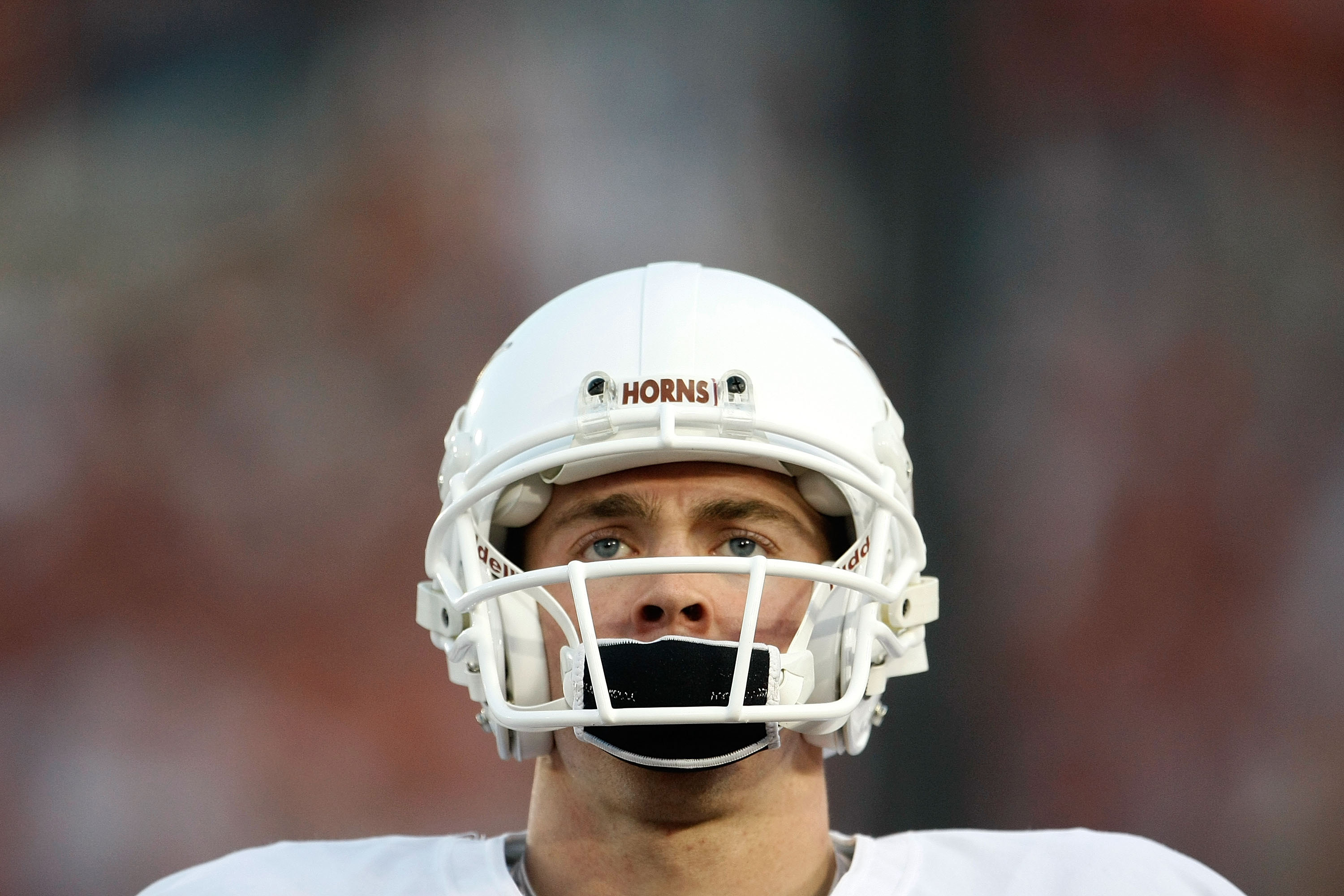 PASADENA, CA - JANUARY 07: Quarterback Colt McCoy #12 of the Texas Longhorns looks on before taking on the Alabama Crimson Tide in the Citi BCS National Championship game at the Rose Bowl on January 7, 2010 in Pasadena, California. (Photo by Jeff Gross/Getty Images) *** Local Caption *** Colt McCoy