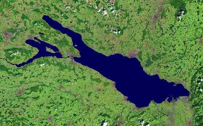 Satellite view of Lake Constance Bodensee