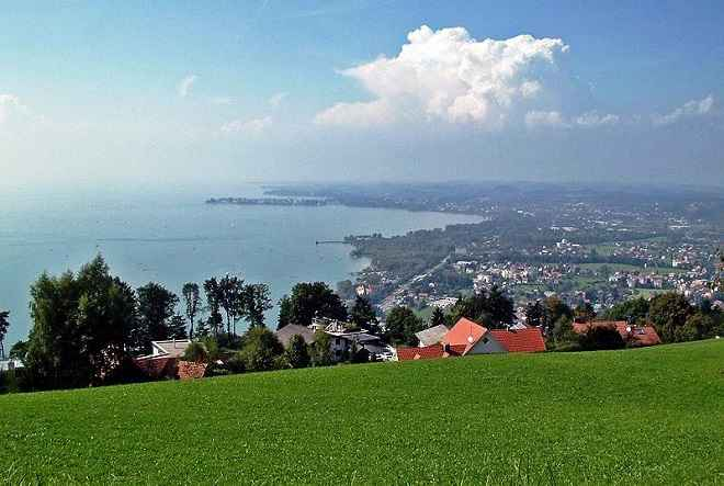mount Pfänder over Bregenz Austria to Lake Constance