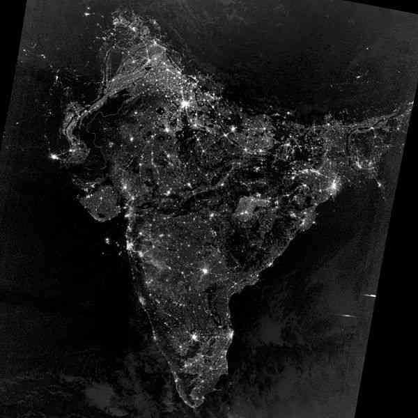 satellite view of India during Diwali