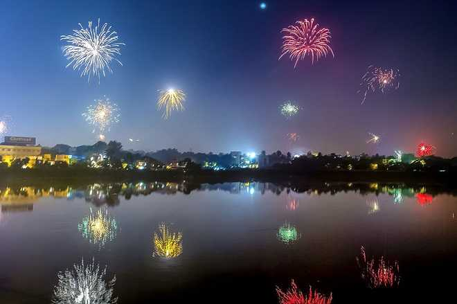 Diwali  from Chennai Adyar bridge