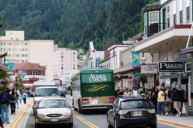 Street traffic in Juneau, Alaska