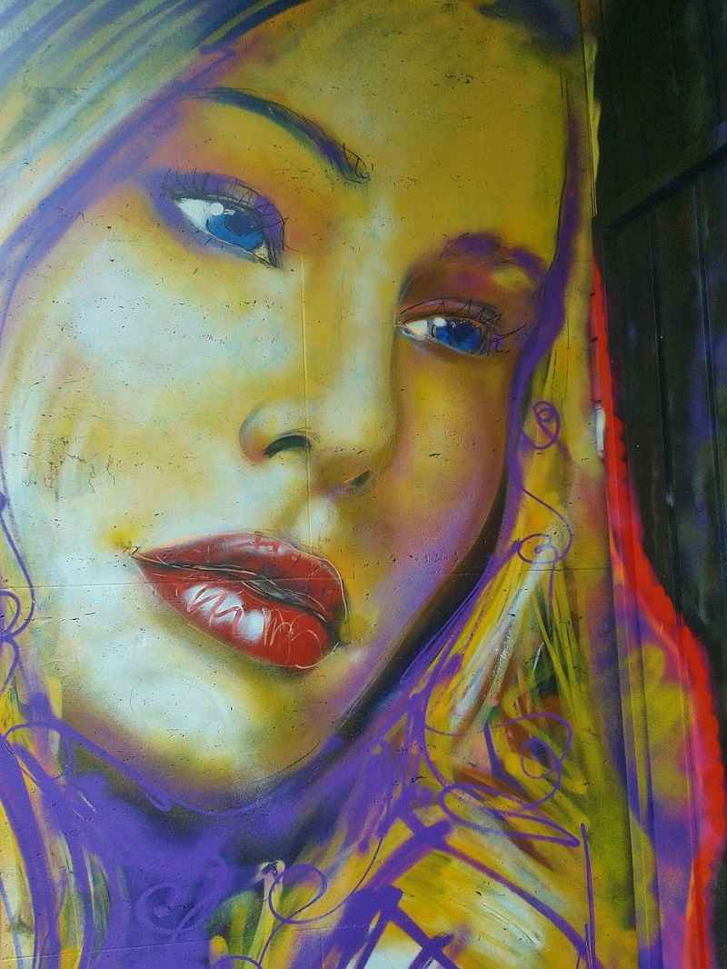 Street graffiti, woman, face, portrait