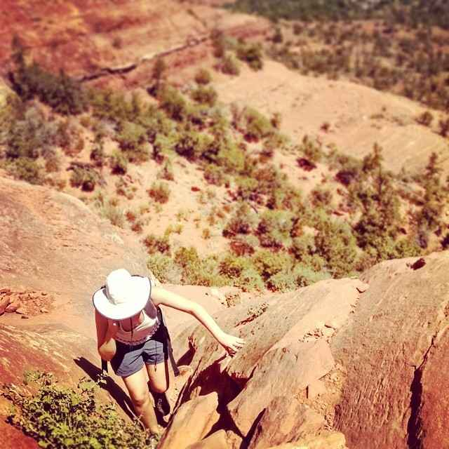 Hiking up to Cathedral Rock in sedona arizona