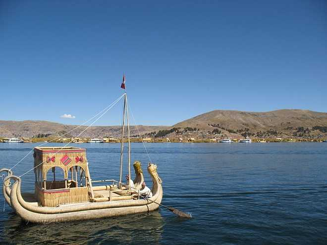 reed boat on Lake Titicaca Bolivia