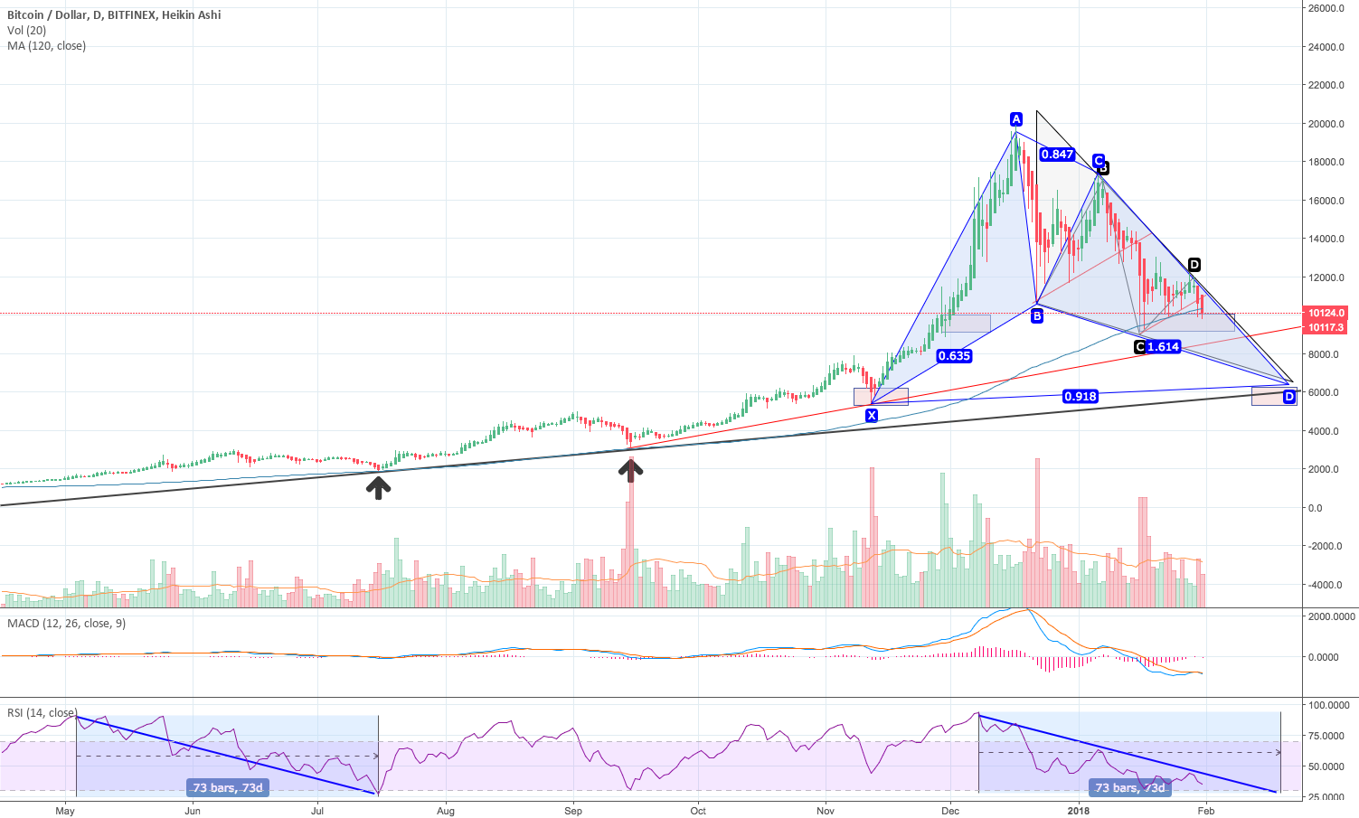 BTC Harmonic Gartley pattern + return to long term support