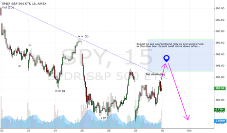 SPY: Flat developing for SPY. Strong wave 3 down expected next