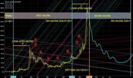 BTCUSD: Effect of halvings on BTC price, and symmetry