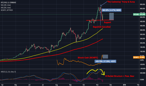 "BTCUSD: BTC BCH ""The Cashening"" Pump & Dump Analysis - BTC Bear Possible"