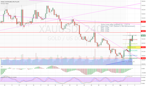 XAUUSD: Long Gold after pullback to 1316 area