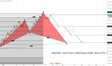 XAUUSD: XAUUSD:short from 1238.9,tp1=1200, tp2=1172, tp3=1147
