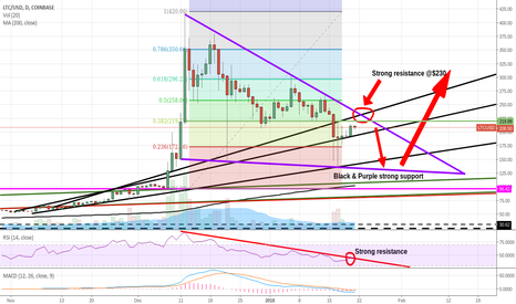 LTCUSD: Litecoin to $230 before dropping to $130 and then back up.