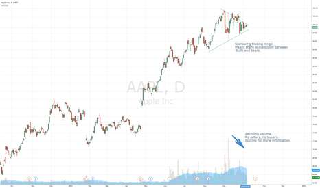 AAPL: Narrow trading range, indecision. Will break one way or the othe