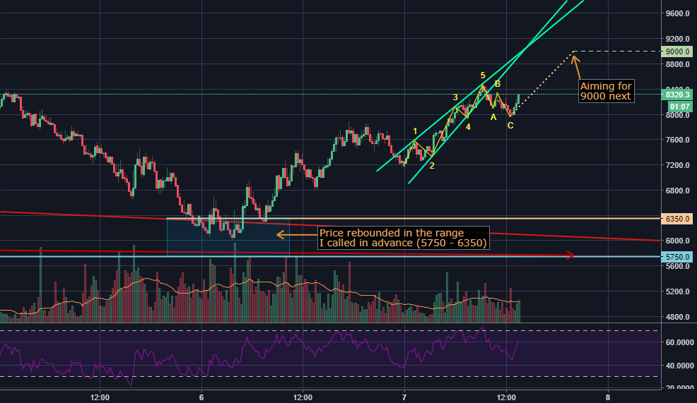 Accurate predictions for past 2 days - BTC to $8850-9450 next
