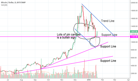 BTCUSD: Up dated Support and Trend line chart