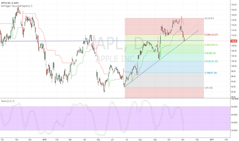 AAPL: Fib Retracement levels on daily. Support levels $110 $108 & $105