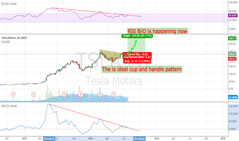 TSLA: Cup and handle pattern is forming on weekly and daily chart,
