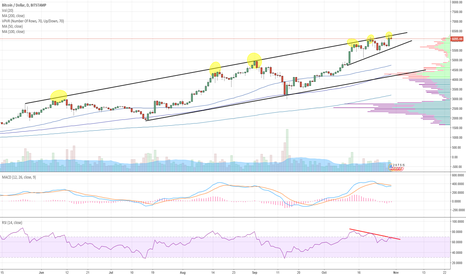 BTCUSD: BTCUSD - Top of ascending channel. Due for short term pullback