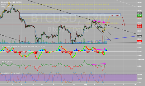 BTCUSD: Cup and Handle and Hidden Bearish Divergence