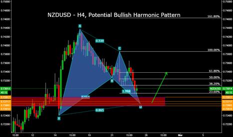 NZDUSD: NZDUSD - H4, Potential Bullish Harmonic Pattern