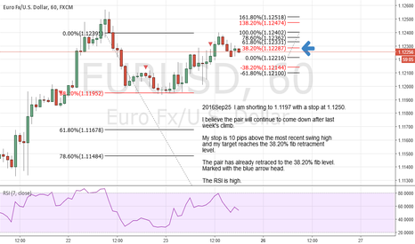 EURUSD: I am shorting to 1.1197 with a stop at 1.1250.