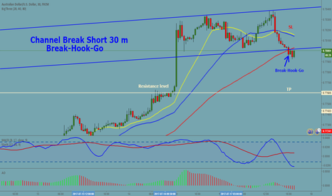 "AUDUSD: AUDUSD 30 m Channel Break Short ""Break-Hook-Go"""
