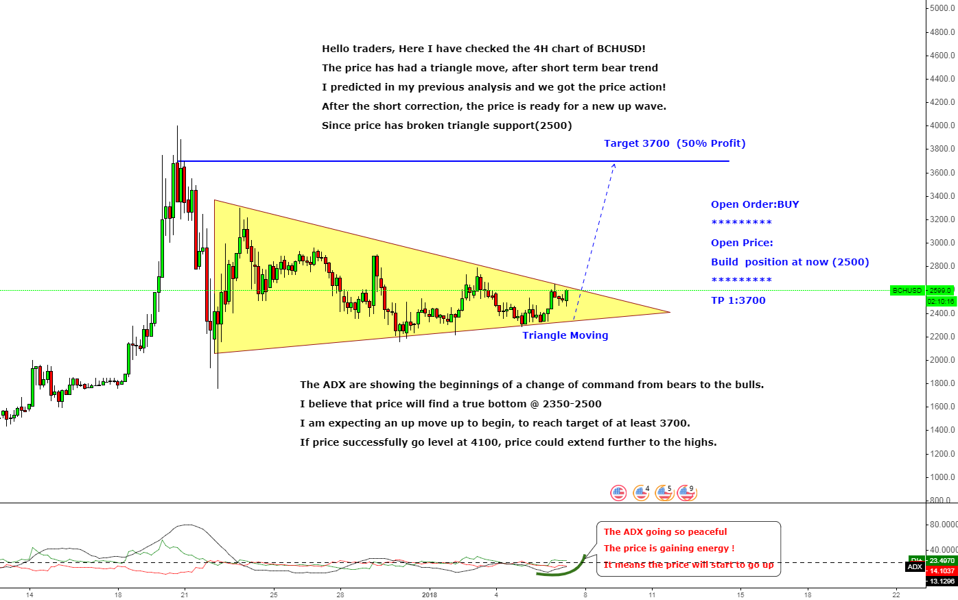 BCHUSD Perfect Triangle Moving