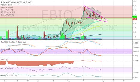 EBIO: Falling wedge (short term pullback)