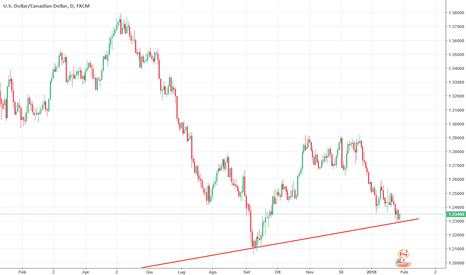 USDCAD: USD/CAD al test della trend line di lungo periodo