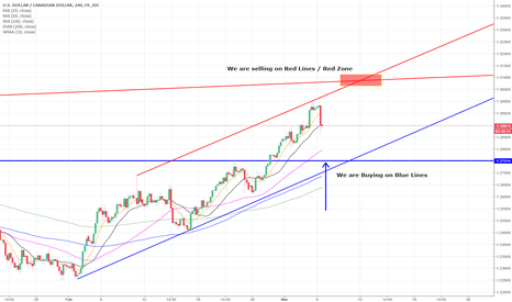 USDCAD: USDCAD - BUY Blue Lines / Sell Red Lines