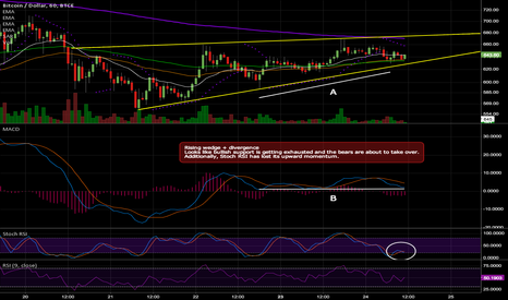 BTCUSD: Rising wedge and divergence, not looking good for the bulls