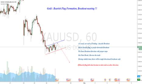 XAUUSD: Gold : Bearish Flag Formation, Breakout Nearing ?!