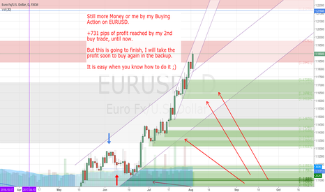 EURUSD: +731 pips of profit reached by my 2nd buy trade.