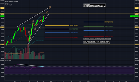 BTCUSD: BTCUSD Retrace @ 8900, 9500? Rising Wedge Elliot Wave Analysis