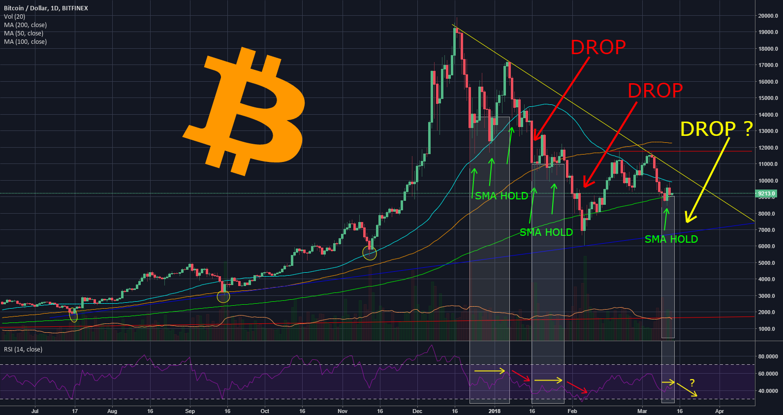 Bitcoin is Holding on His 200 Daily sma, What Does This Mean
