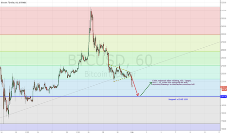 BTCUSD: UPDATE - 220 finally broken, Bitcoin heading for 200