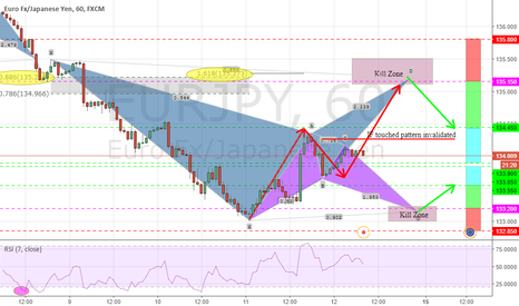 EURJPY: TWO POTENTIAL BAT ,BEARISH AND BULLISH BATS .