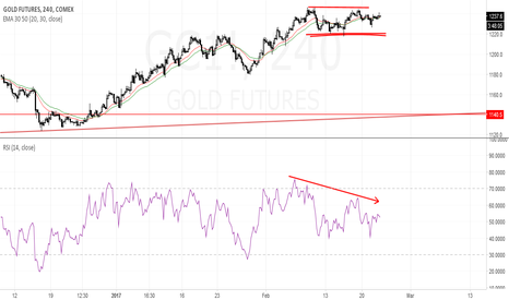 GC1!: Gold rally losing momentum