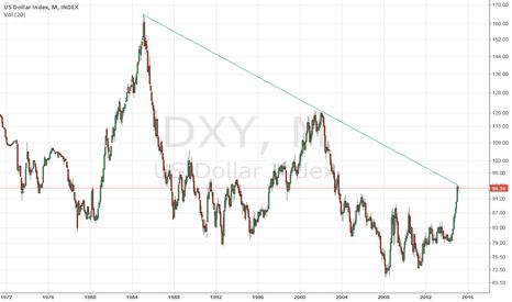 DXY: US Dollar Index Log Scale at peak of trendline