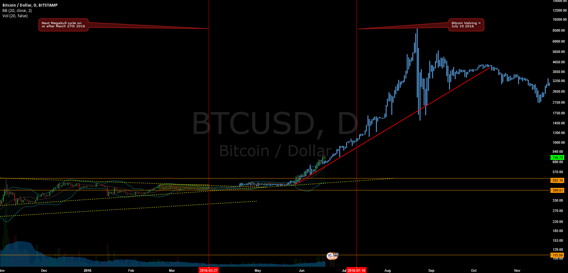 The Bitcoin Megabull Cycle - To the Moon (Zoomed in Chart)