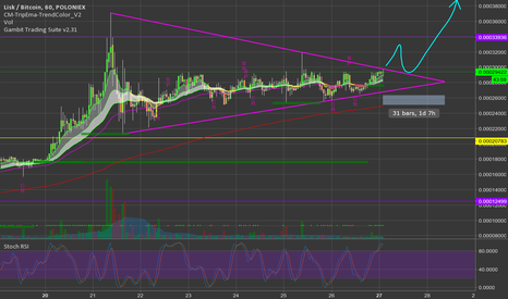 LSKBTC: Only about 1 day until this $LSK triangle breaks, hopefully UP!