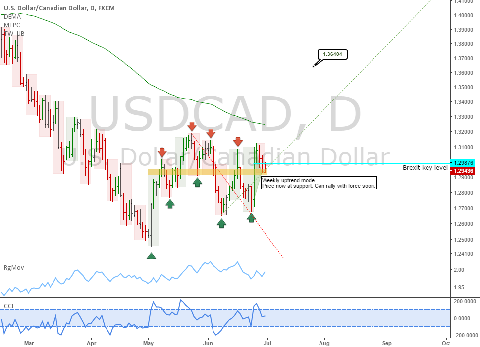 USDCAD: At a critical spot for dollar longs