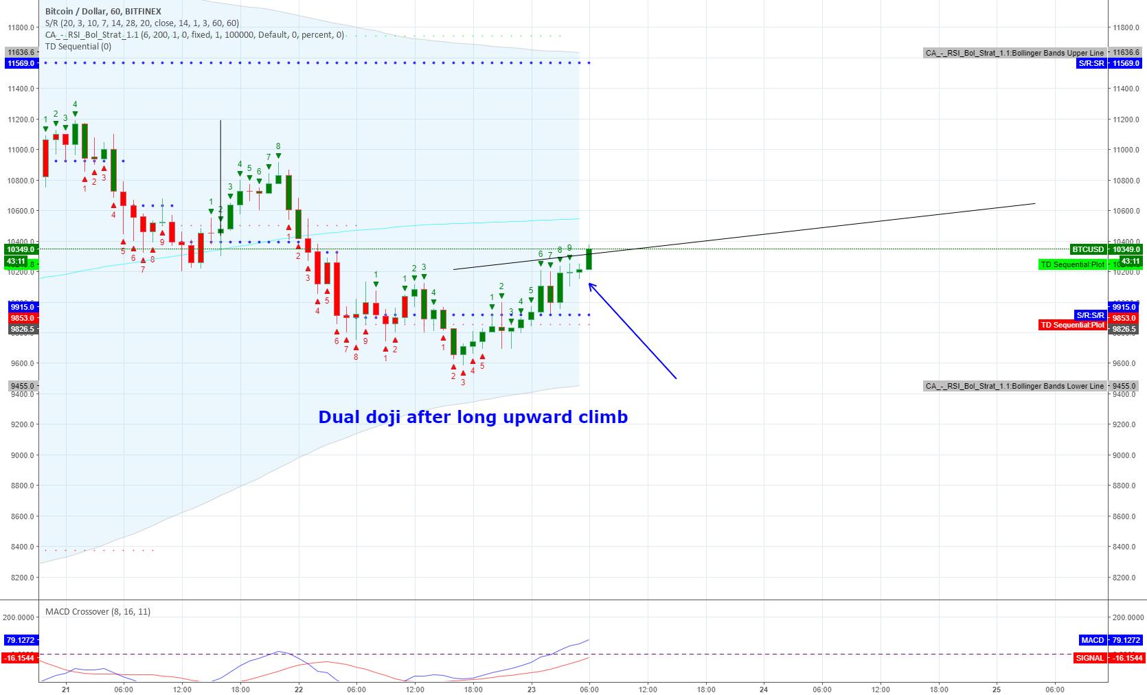 Dual doji after long upward climb - trend reversal