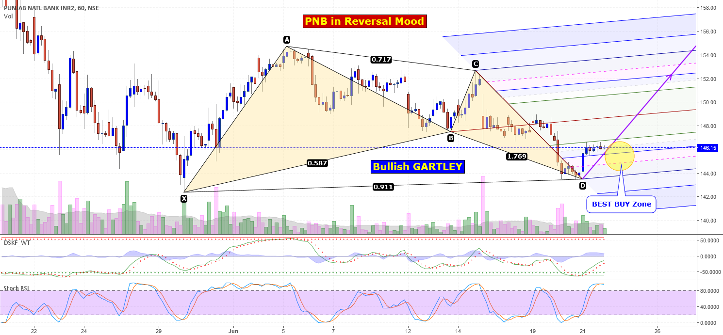 PNB in Reversal Mood, Bullish GARTLEY in Hourly Chart.