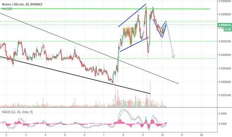 WAVESBTC: WAVES/BTC 30min chart Bearish Flag