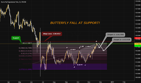 EURJPY: EURJPY, D; BUTTERFLY FALL AT SUPPORT!