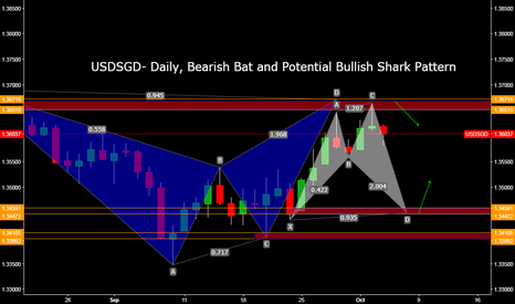 USDSGD: USDSGD- Daily, Bearish Bat and Potential Bullish Shark Pattern