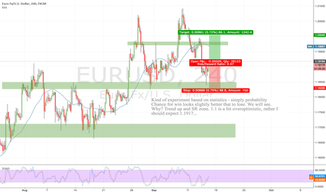 EURUSD: EURUS H4 - long based on probability due to trend up and SR met