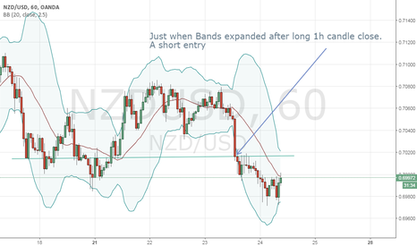 NZDUSD: A Short signal entry on kiwi just after bands expanded