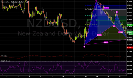 NZDUSD: 30 pips to potencial Bat on the 1h